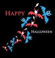 greeting halloween card with funny bats vector image vector image