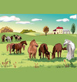 group of horses grazing vector image vector image