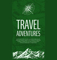 grunge travel banner with compass rose vector image