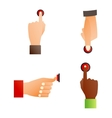 Hands push buttons set vector image