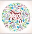 happy easter - modern round card vector image vector image