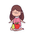 happy thanksgiving day cute girl with apple and vector image vector image
