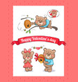 happy valentines day poster with male bear hive vector image