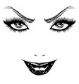 happy woman face in black and white vector image vector image