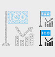 ico trend chart mesh wire frame model and vector image vector image