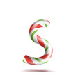 letter s 3d realistic candy cane alphabet vector image vector image