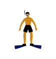 male diver with scuba and flippers guy relaxing vector image