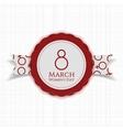 march 8 womens day round banner on ribbon vector image