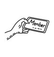 member card icon doodle hand drawn or outline vector image