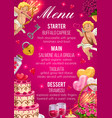 menu on wedding day starter main and desserts vector image vector image
