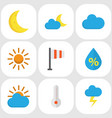 meteorology flat icons set collection of sunny vector image vector image