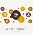 mobile banking trendy circle template with simple vector image vector image