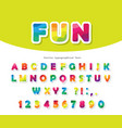 modern colorful font bright paper cutout abc vector image vector image