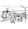 monochrome horizontal sketch with people vector image vector image