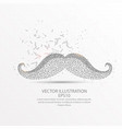 moustache low poly wire frame on white background vector image