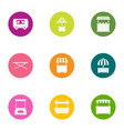 open shop icons set flat style vector image vector image