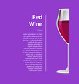 red wine advertisement poster wineglass half view vector image