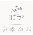 Save nature icon Hand with plant sprout sign vector image