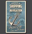 sea ship helm and anchor nautical navigation vector image vector image