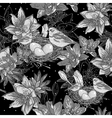 Seamless monochrome floral background with bird vector image vector image