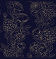seamless pattern of black and white style flowers vector image vector image