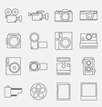 set cameras outline style icon vector image vector image