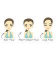 set of 3 different womans face shapes vector image vector image
