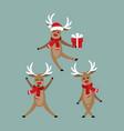 set of cute deers in winter custom vector image