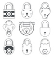 Set of Nine Grey Padlocks vector image vector image