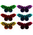 Set of realistic butterflies vector image vector image