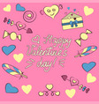 set of valentine s day elements isolated on pink vector image
