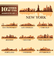 Set USA City 1 brown vector image vector image