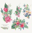 set vintage floral tropical natural vector image vector image