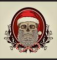 skull santa claus mascot merry christmas vector image