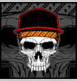 skull wearing cap and bandana vector image vector image