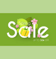 spring sale colorful banner with cute flowers vector image