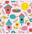 spring seamless pattern with cute animals vector image vector image
