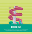 summer adventure poster with water slide vector image vector image