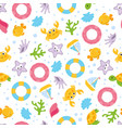 summer cartoon sea seamless pattern vector image vector image