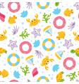 summer cartoon sea seamless pattern vector image
