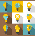technology light bulb icons set flat style vector image