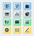trade icons set with authentication global vector image