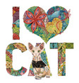 words i love cat with a figure of cat vector image vector image
