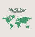 world map green floral pattern on white background vector image