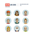 modern thin line icons set of people avatars vector image