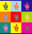 add to shopping cart sign pop-art style vector image