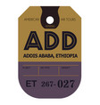 addis ababa airport luggage tag vector image vector image