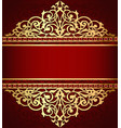 background with golden ornament and red band vector image vector image