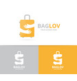 bag and hands logo combination baggage vector image vector image