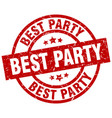 best party round red grunge stamp vector image vector image
